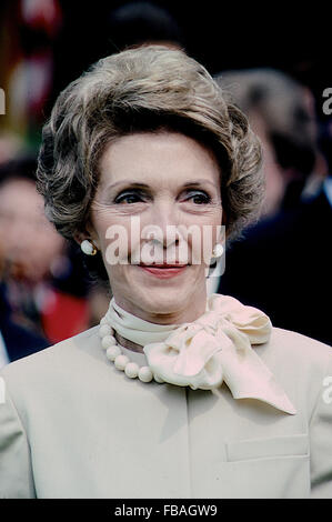 Washington, DC., USA, 7th June, 1983 First Lady Nancy Reagan on the South Lawn of the White House during the arrival - Stock Photo