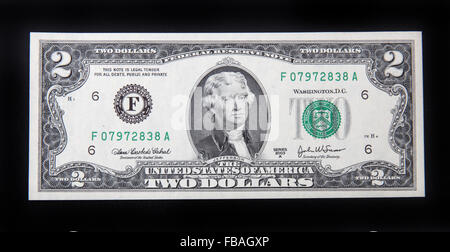 The front of a US 2 dollar bill. - Stock Photo