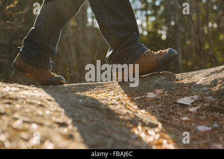 Finland, Esbo, Kvarntrask, Low section shot of young man walking in forest - Stock Photo