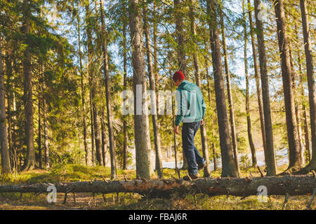 Finland, Esbo, Kvarntrask, Young man walking on trunk of fallen tree in forest - Stock Photo