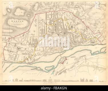WARSAW WARSZAWA. Antique town city map plan. Building profiles.Colour.SDUK 1844 - Stock Photo