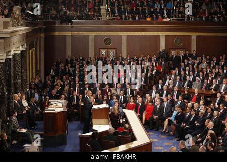 Washington, DC, USA. 12th Jan, 2016. U.S President Barack Obama gives his final State of the Union address to a - Stock Photo