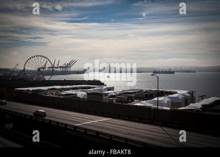 Seattle Port view from Victor Steinbrueck Park - Stock Photo