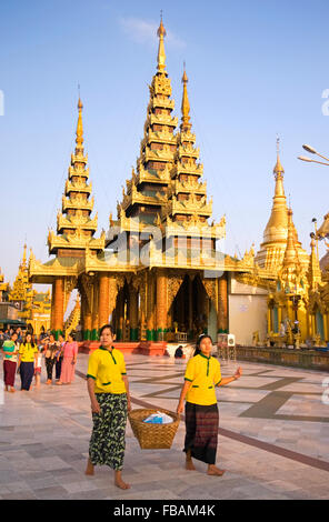 Inside Shwedagon Paya in Yangon, Myanmar - Stock Photo