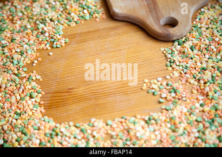Healthy food, bean products, background of red lentil and dried peas grains with copy space, place for text in the - Stock Photo