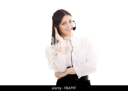 Call center operator with headphones and microphone, customer service worker with headset, beautiful young woman - Stock Photo