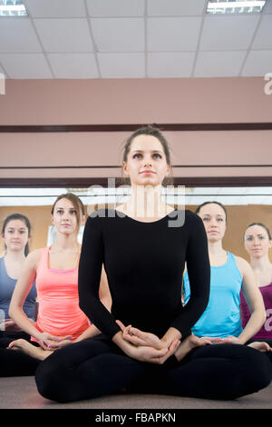 Five sporty yogi girls in class in Yoga pose sukhasana (Easy Pose, Decent Pose, Pleasant Pose) - Stock Photo