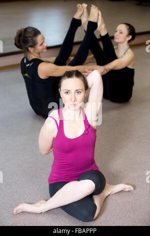 beautiful sporty yogi girl practices yoga asana