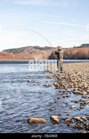 Angler flyfishing for rainbow trout in portage valley in for Fly fishing washington state