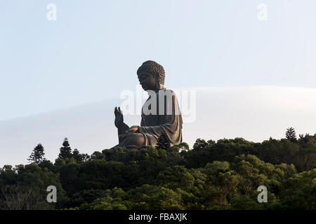 Statue of a Giant Buddha in Lantau Island, Hong Kong - Stock Photo