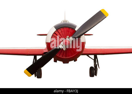 Vintage Propeller Airplane Isolated on White Background - Stock Photo