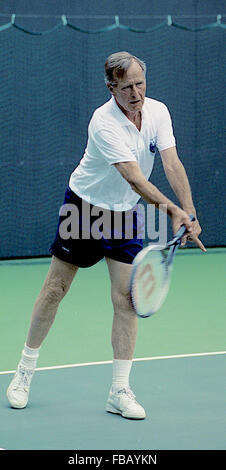 Washington, DC. USA, 2nd July, 1991  President George H.W. Bush plays doubles with Korean Roh Tae Woo  Credit: Mark - Stock Photo
