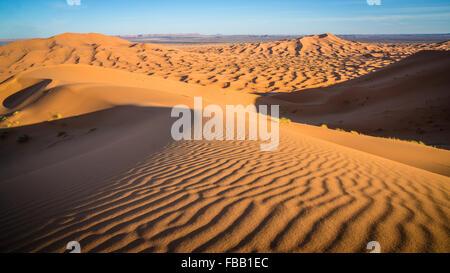 Saharan Dunes and ripples, Erg Chebbi Morocco - Stock Photo