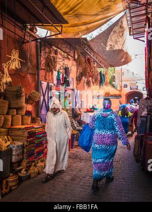 Street life Marrakech Medina - Stock Photo