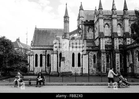 St Patrick's Cathedral in Dublin Ireland is a lovely place for a walk, to read a book, or to push a pram. - Stock Photo