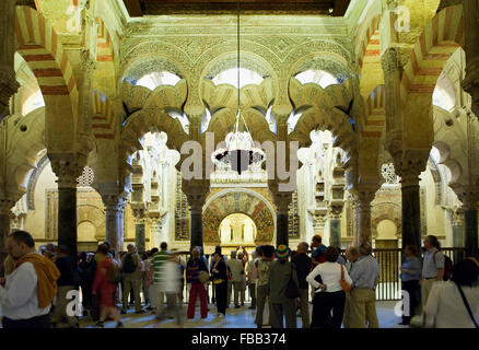 Cordoba.Andalusia. Spain: Interior of Mosque-Cathedral.Zone of the mosque in the gibla, with the mihrab in the center.Al - Stock Photo