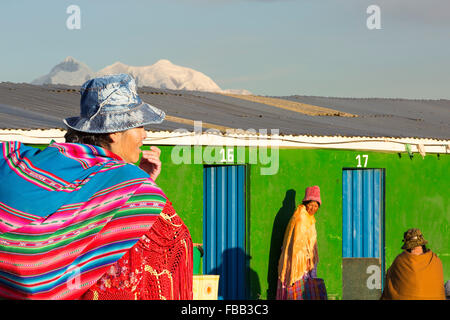 The peak of Illimani from El Alto above, La Paz, Bolivia. La Paz and El Alto are critically short of water and will - Stock Photo
