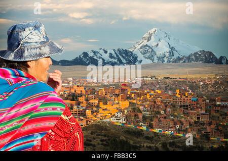 The peak of Huayna Potosi from El Alto above, La Paz, Bolivia. La Paz and El Alto are critically short of water - Stock Photo