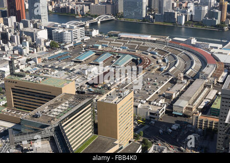 aerial view of the Tsukiji Fish Market, Tokyo - Stock Photo