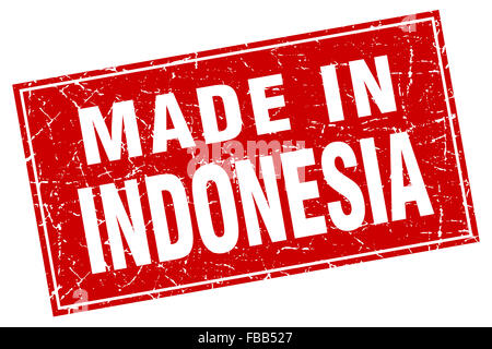 Indonesia red square grunge made in stamp - Stock Photo