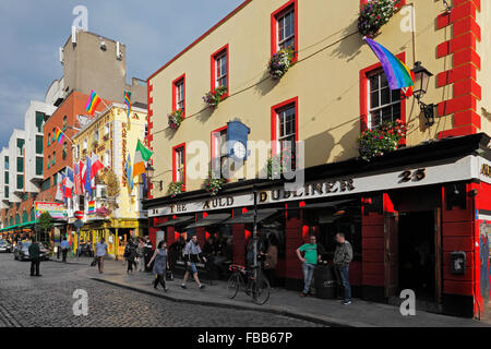 The Auld Dubliner 25, a traditional music bar and restaurant in the Fleet street in Dublin, Ireland - Stock Photo