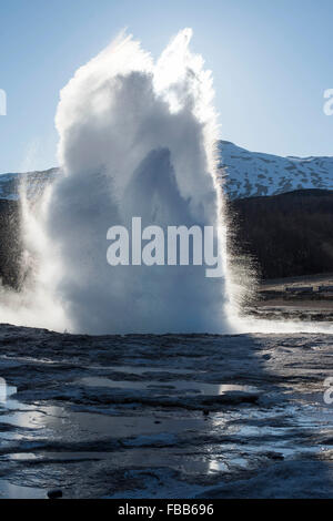 The great geyser in the Haukadalur valley in Iceland - Stock Photo