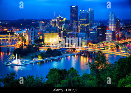High Angle Night View of Pittsburgh Downtown From Mt Washington, Pennsylvania - Stock Photo