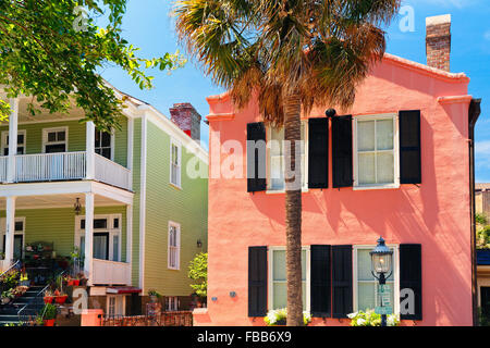 Low Angle View of Charming Colorful Houses in Historic Charleston, South Carolina - Stock Photo