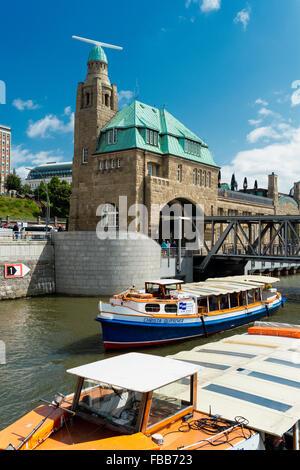 Low Angle View of Hamburg Port at Landing Stages, Hamburg, Germany - Stock Photo