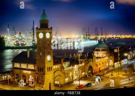 High Angle View of The Port Of Hamburg at Pier 3 at Night, St Pauli, Hamburg, Germany - Stock Photo