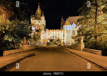 Low Angle View of a Castle Gate Lit Up at Night, Vajdahunyad Castle, Budapest, Hungary - Stock Photo