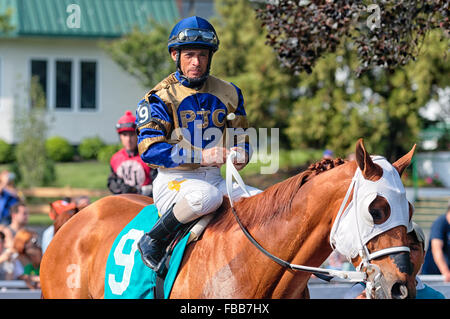 Close Up View of a Jockey Sitting on Horse,Monmouth Park Recetrack, Oceanport, New Jersey - Stock Photo