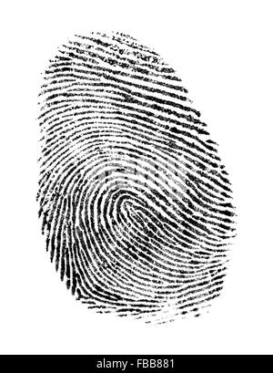 Black Ink Fingerprint Isolated on a White Background. - Stock Photo