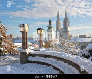 View to  Zagreb Cathedral in winter. - Stock Photo