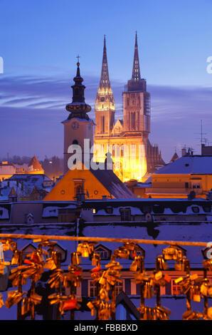 Zagreb Cathedral illuminated in twilight . - Stock Photo