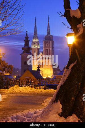 View to Cathedral in Zagreb city - Stock Photo