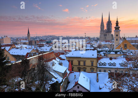 Panorama of Zagreb in winter. Cathedral on the back of the picture. - Stock Photo