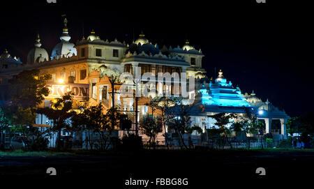 Night view of ISKCON Temple Chennai, Madras, Tamil Nadu, India, Asia - Stock Photo