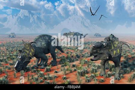 A Herd Of Pachyrhinosaurus Dinosaurs - Stock Photo