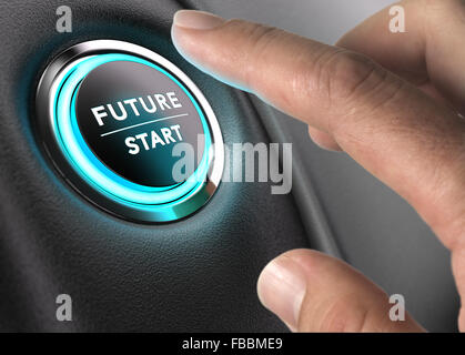 Finger about to press future button with blue light over black and grey background. Concept image for illustration - Stock Photo