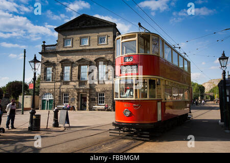 UK, England, Derbyshire, Crich, Tramway Museum, 1932 London Tram no 1622, passing Derby Assembly Rooms building - Stock Photo