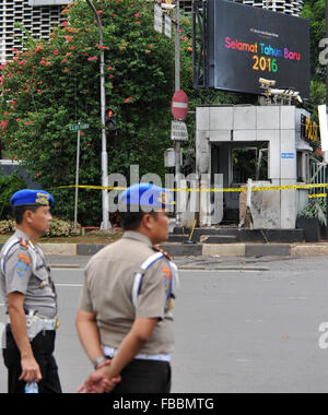 Jakarta, Indonesia. 14th Jan, 2016. Policemen guard at the explosion site in Jakarta, Indonesia, Jan. 14, 2016. - Stock Photo
