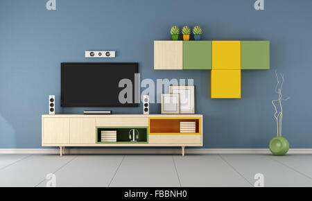 Modern Living Room With Tv Unit Stock Photo Alamy