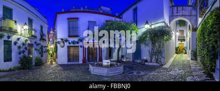 Spain, Andalusia, Cordoba. Calleja de las flores, Street of flowers in old town at dusk Stock Photo