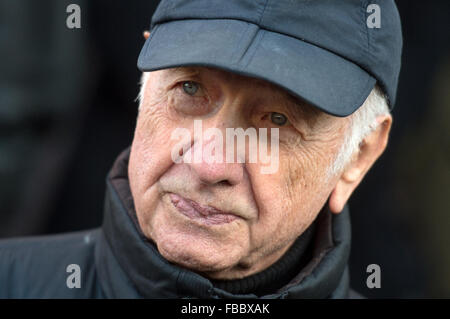 Leipzig, Germany. 14th Jan, 2016. Actor Armin Mueller-Stahl leaves the St. Thomas Church after funeral services - Stock Photo
