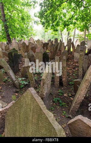 Old Jewish Cemetery, Jewish Quarter, Prague, Czech republic, - Stock Photo