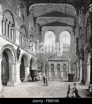 Interior of the Priory Church of St Bartholomew the Great, or Great St Bart's, 18th century, an Anglican church - Stock Photo