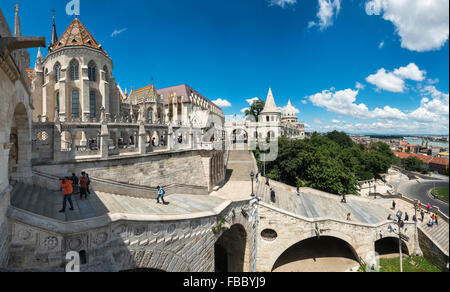 Matyas Church, Castle District, Budapest, Hungary, Fishermans Bastion, - Stock Photo