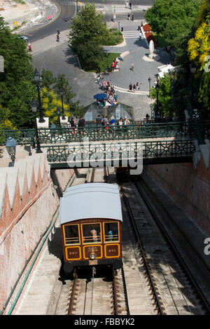 Siklo Funicular on Castle Hill, Budapest, Hungary, tram, train, - Stock Photo