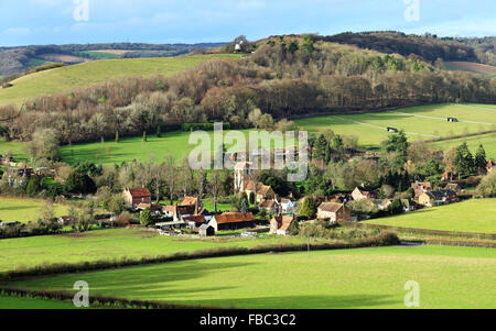 An English Rural Hamlet in the Chiltern Hills bathed in Winter sunshine - Stock Photo